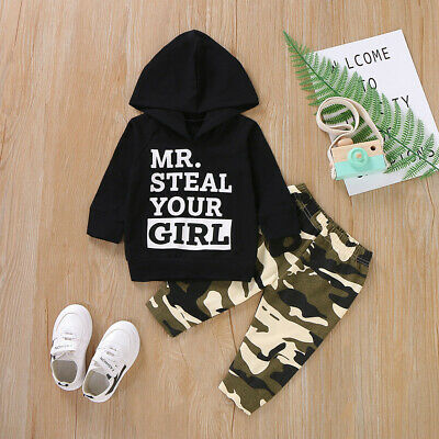 Toddler Kid Boy Girls Clothes Hooded Top Sweatshirt Pants Tracksuit Outfit Set