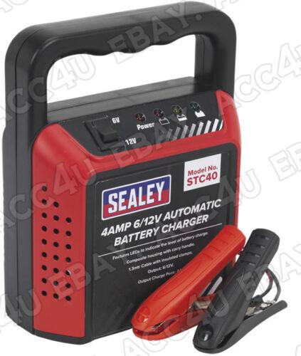 Sealey STC40 6 V 12 V 4 Amp Auto Moto Barco Compacto Automático Cargador De Batería