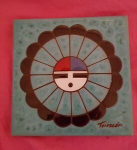 Image Is Loading Southwest Cleo Teissedre Signed Ceramic Tile Wall Art