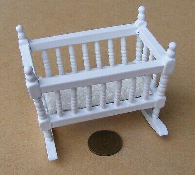 Escala 1:12 Pintado De Blanco De Madera Mecedora tumdee Muebles de Casa de Muñecas