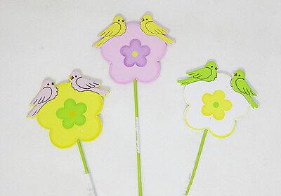 Pick Fiore Legno C/uccellini Pz 12 Primavera Pasqua Decorazioni Addobbi