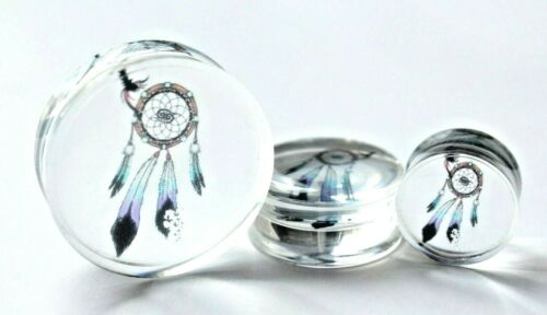 1x 8-30mm Dream Catcher Logo Transparent Double Flare Boho Tunnel Earplug Earing