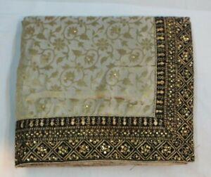 Indian-Jute-Silk-Ethnic-Contrast-Border-Saree-Bollywood-Sari-Bridal-Party-Dress