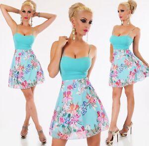 ITALY Damen Mini Kleid A Linie Party Cocktail Sommer Tropical Blumen 34 36 38