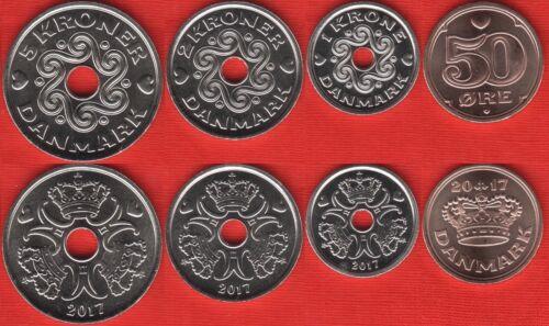 50 ore 5 kroner 2017 UNC Denmark set of 4 coins