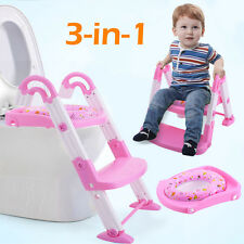 3 in 1 Baby Potty Training Toilet Chair Seat Step Ladder Trainer Toddler Pink