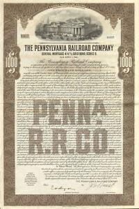 1934 Pennsylvania Railroad > $1,000 bond certificate stock share