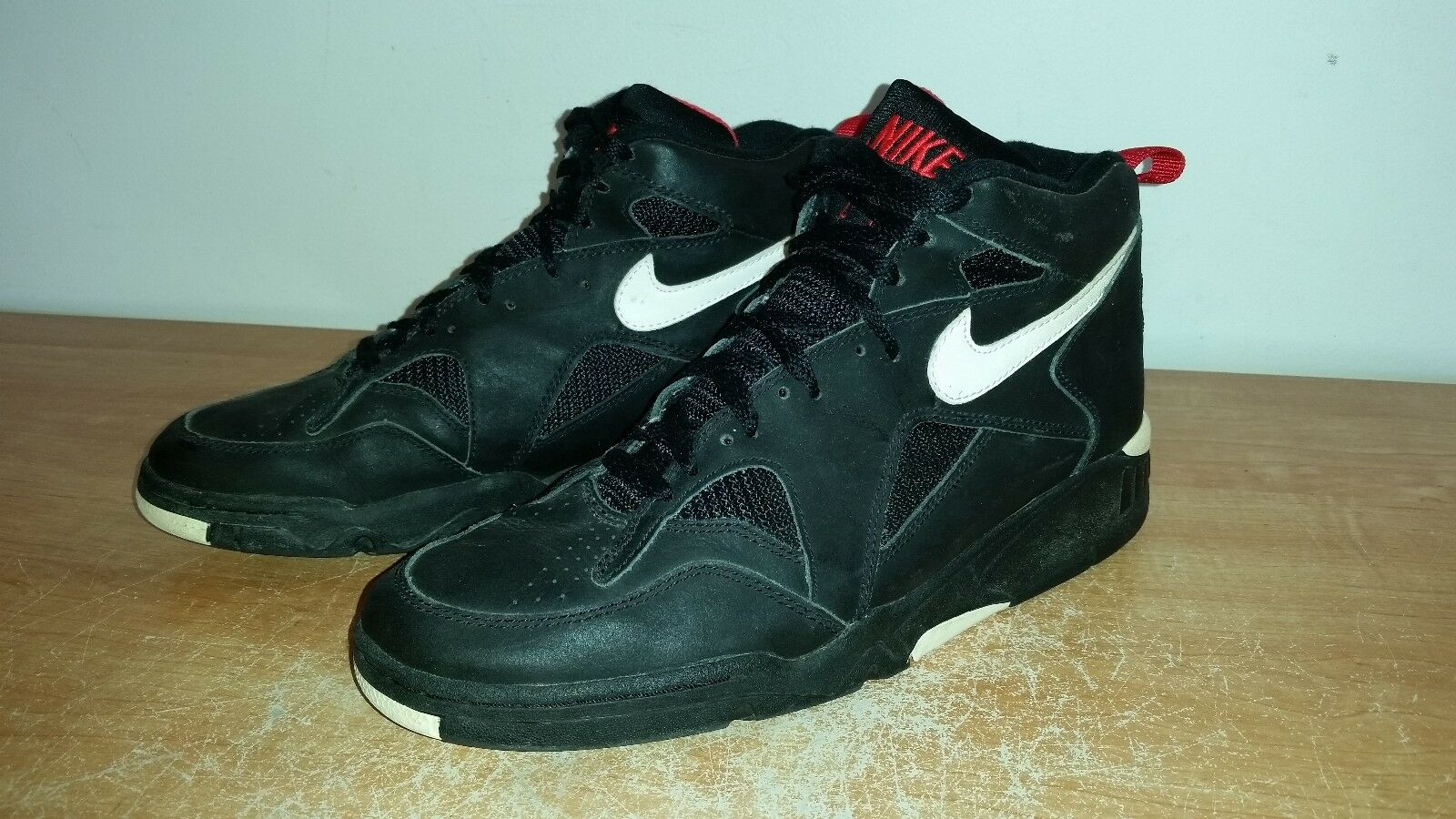 Men's Vintage 90s Black Leather NIKE AIR Mid Basketball Retro OG Sneakers Sz-10
