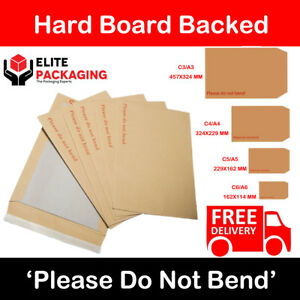 10 x A4/C4 PLEASE DO NOT BEND HARD CARD BOARD BACKED ENVELOPES MANILLA BROWN