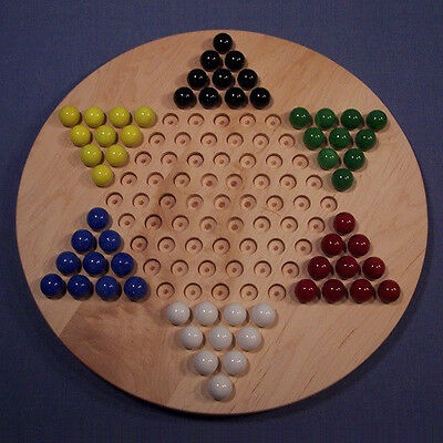 Wooden Marble Game Board- Chinese Checkers -Oiled, Hard Maple