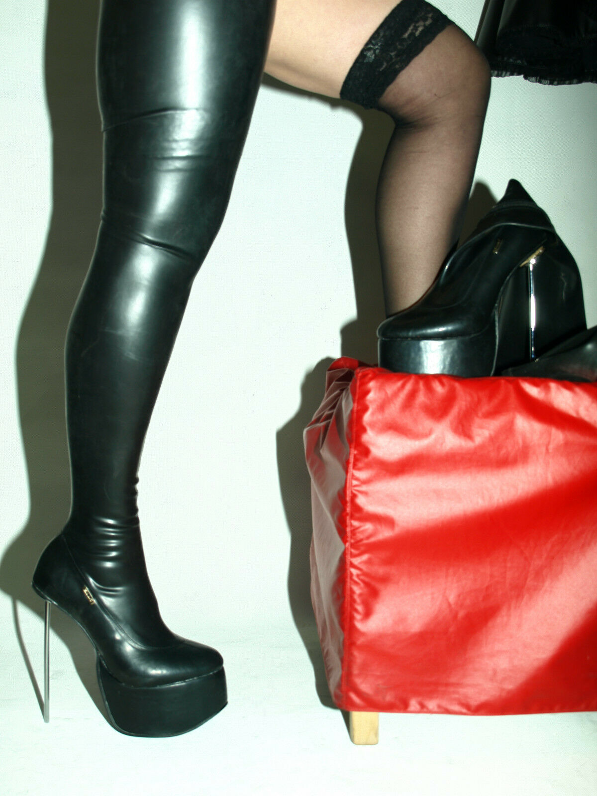 PROMOTION    LATEX RUBBER FETISH 8CM BOOTS SIZE 4-12 PLATFORM 8CM FETISH HEELS 20CM POLAND a84300