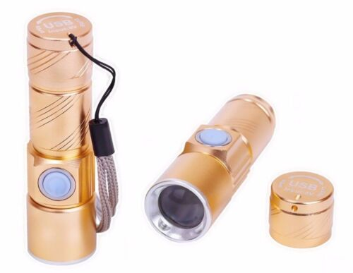 Rechargeable USB Ultra Bright LED Torch with Beam Focusing Flashlight 4x Zoom UK