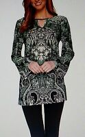 Attitudes By Renee Women Green Printed Tunic Top 2x 22 24 Qvc Plus Size