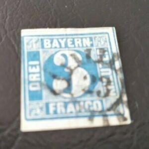 Bayern-3-Kreuzer-blau-Mi-Nr-2-II2-mit-PF-Ansatz-weisser-Fleck-beim-034-N-034-gMR-23