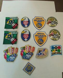 Boy Scout Patches Bobcat Scout Parade Pinewood Derby Community Service Lot of 13