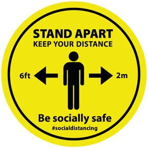 Social Distancing Floor Stickers Signs 200mm Safe Distance 2m Self Adhesive