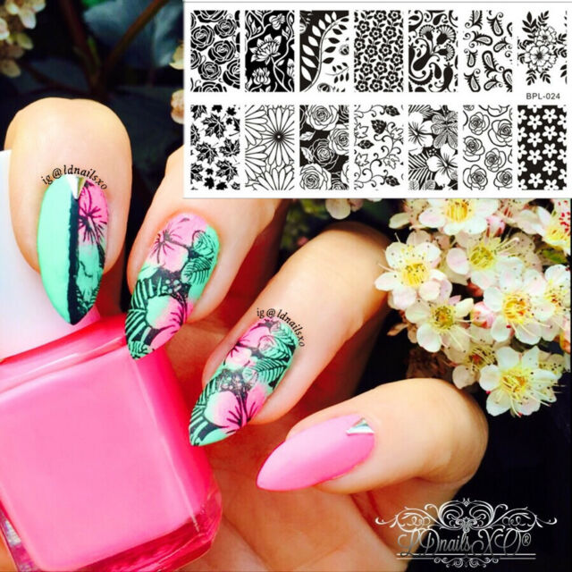 BORN PRETTY 12.5 x 6.5cm Flower Theme Nail Art Stamp Stamping Template BP-L024