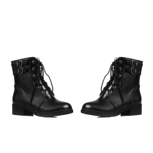 Details about  /Womens Comfort Lace up Round Toe Low Heel Motor College Ankle Boots B Lhb47