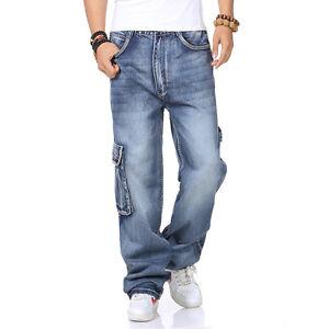 Plus-Size-Men-039-s-Cargo-Jeans-Hip-Hop-Denim-Pants-Casual-Loose-Style-Waist-W30-W46