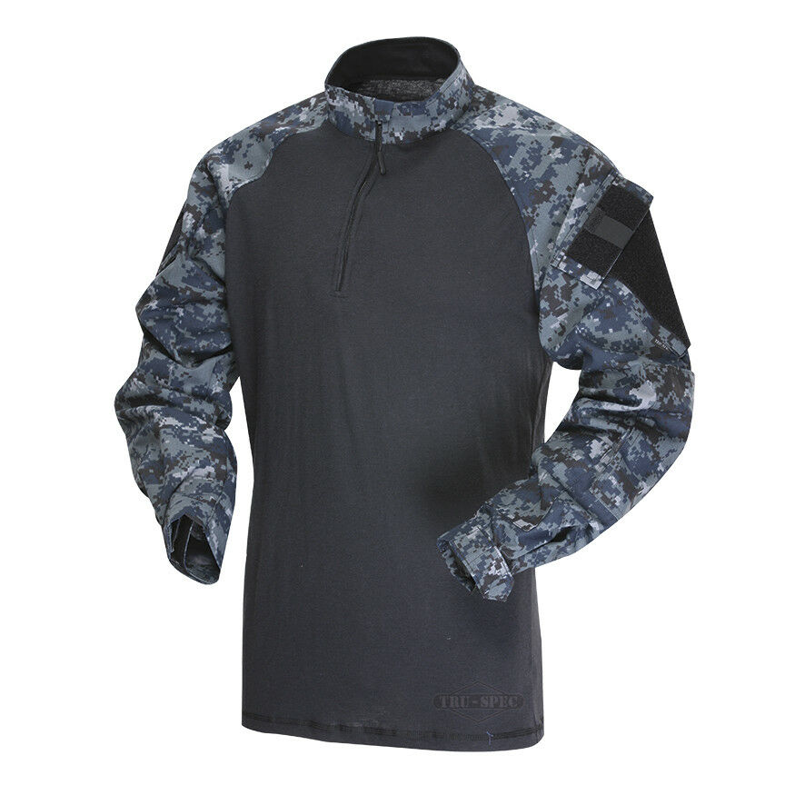 Tru-Spec Midnight Digital Navy 1 4 Zip TRU Combat Shirt 65 35 Poly Cotton RS