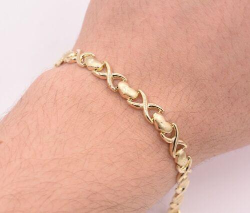 "7.25/"" Diamond Cut Heart /& Kisses Stampato Bracelet Real 10K Yellow Gold"