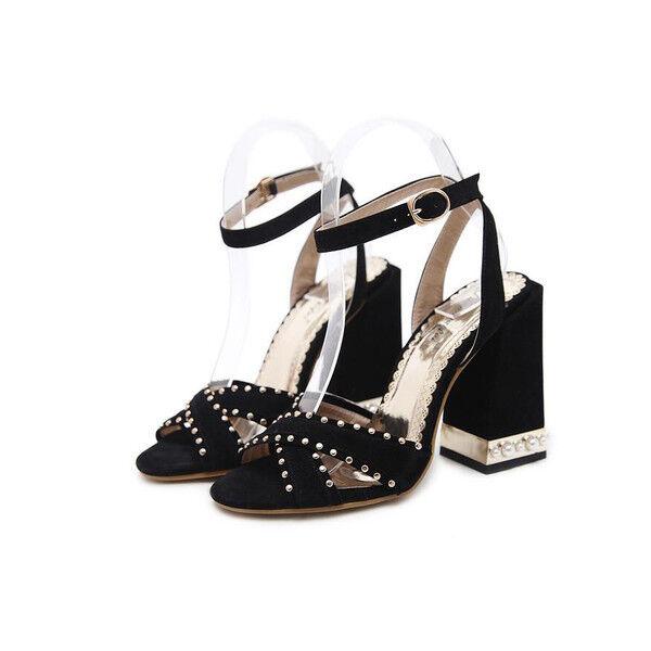 Decolte 11 cm eleganti tacco comodi pelle nero tacco eleganti quadrato Sandale ... 71587a