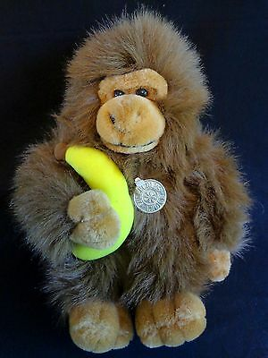 "Plush Monkey with Banana 13"" Shaggy Brown Stuffed Animal Chimp"