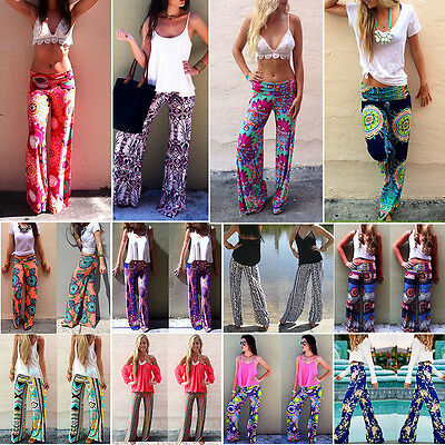 Retro Boho Hippie Bottom Pants Floral Print Straight Leg Yoga Palazzo Trousers