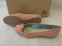 J Shoes Amarante Orange Multi Coloured Canvas Ballerina Pumps Uk 4 Eu 37