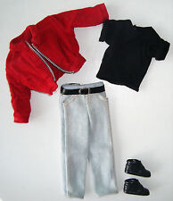 Barbie/ KEN CLOTHES Red Corduroy Jacket, Black Tee, Jeans, Shoes NEW!