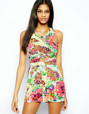 Stunning Lipsy Floral Playsuit size 12 Summer Cut out Jumpsuit Party Holiday