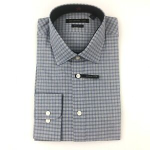 John-Varvatos-Star-USA-Blue-Plaid-Super-Fine-Cotton-Mens-Dress-Shirt-15-5-34-35