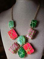 Kate Spade York Pink Green Gold Pop Garden Statement Bib Necklace $328