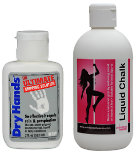 Dry Hands 2oz + Pole Dance Liquid Chalk 250ml x For a Mighty Strong Grip