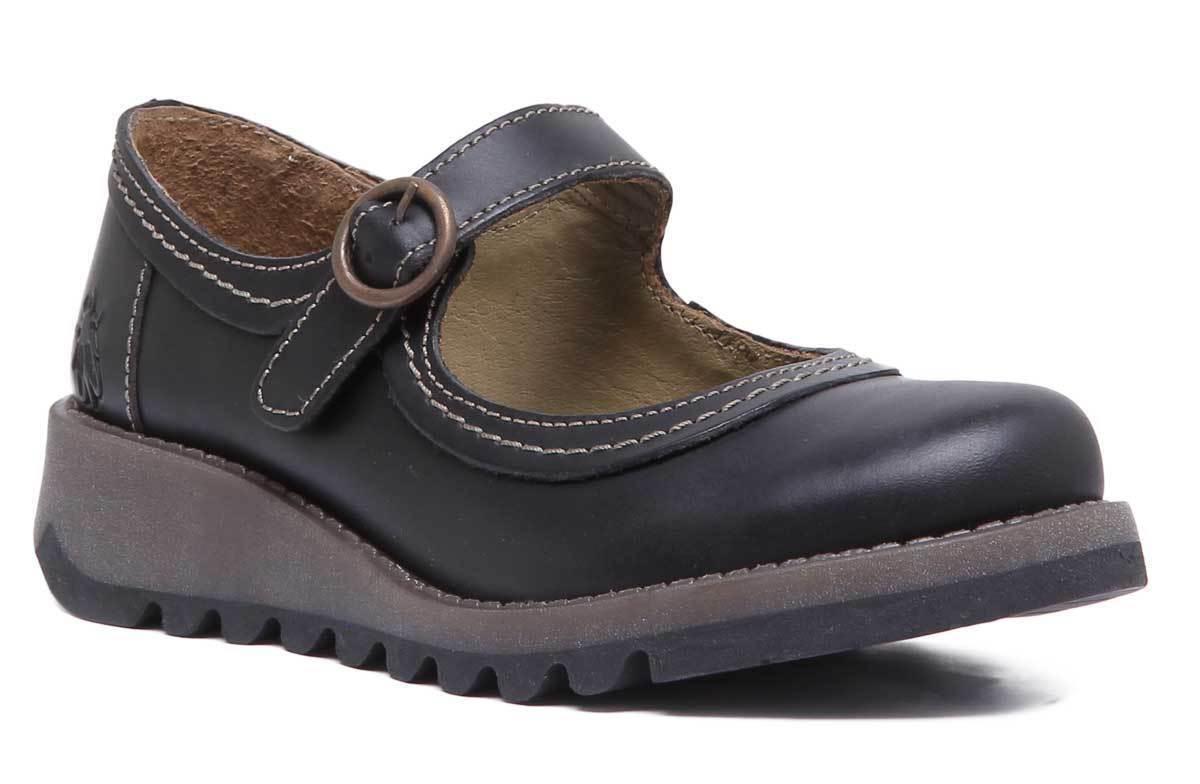 Fly London Siko Cuña De Cuero Negro Niños Zapatos De Ballet tamaño de Reino Unido 10 - 2