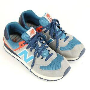 NEW-BALANCE-Mens-NB-574-Size-10-Running-Shoes-Gray-Blue-Orange-White-ML574SOE