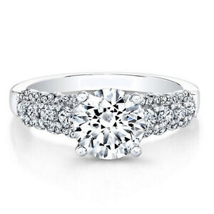 0.84 Ct Certified Moissanite Engagement Ring 18K Solid White Gold ring Size 5 6