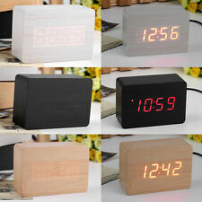 Mini Modern Red LED Display Temperature Digital Wood Wooden Alarm Clock XC