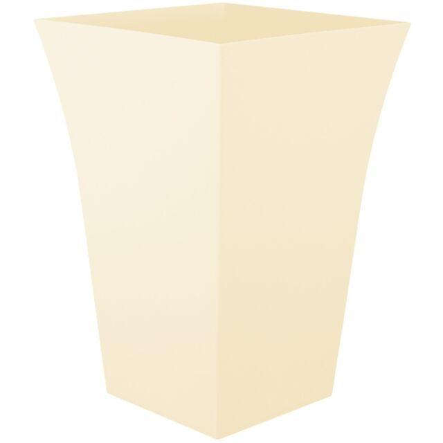 Large Milano Tall Planter Square Plastic Garden Flower Plant Pot CREAM (IVORY)