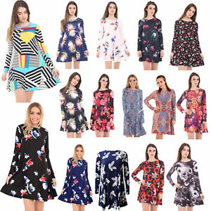 Women-Long-Sleeve-A-Line-Skater-Flared-Pleated-Swing-Dress-Tunic-Top-8-26