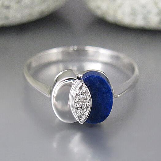 Ring mit ca. 0,04ct Diamant und Lapis Lbluei Besatz in 585 14K whitegold