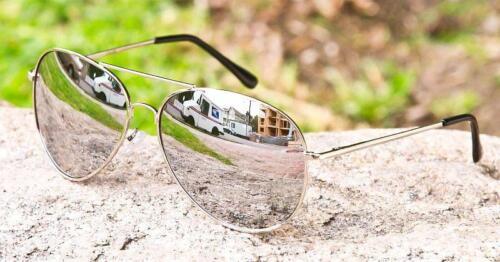 Large Silver Mirror Aviators Trendy Hipster Big Top Rock N Roll Sunglasses 215 L