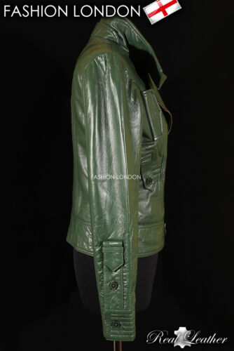ESSENCE Verde Donna Stile Biker Vera Lambskin Designer Corto Giacca in pelle