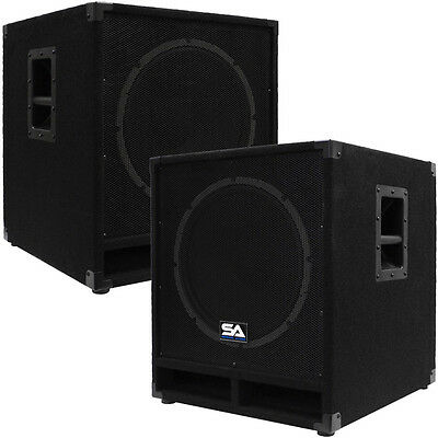 "Seismic Audio Pair of Powered 15"" Sub Cabs PA DJ PRO Audio Band Active 15"" Subs"