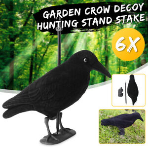 6x-Garden-Flocked-Hard-Plastic-Flambeau-jet-Crow-Decoy-For-Hunting-Stand-Bird