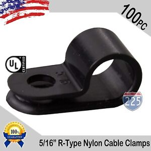 "100 PCS PACK 5/16"" Inch R-Type CABLE CLAMPS NYLON BLACK HOSE WIRE ELECTRICAL UV"