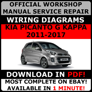 official workshop repair manual for kia picanto g kappa 2011 2017 rh ebay com kia picanto factory workshop service repair manual kia picanto repair manual
