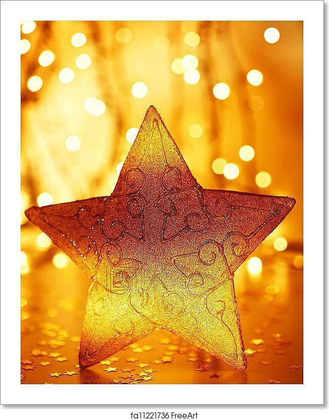 Christmas Tree Star Decoration Art Print Home Decor Wall Art Poster - J