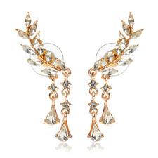 Ivy Leaves Leaf Tassel Cubic Zircon Wrap Earrings Ear Pins Cuffs Rose Golden
