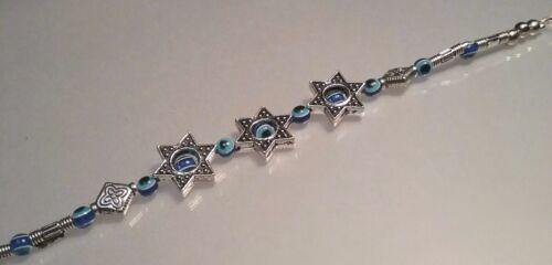 ALL-SEEING EYE Bracelet BUDDHA Silver Tone BLUE Star of David Evil Eye